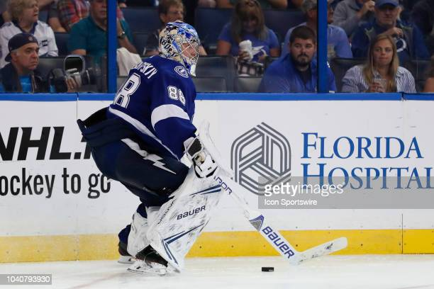 Tampa Bay Lightning goaltender Andrei Vasilevskiy skates in the third period of the NHL preseason game between the Florida Panthers and Tampa Bay...