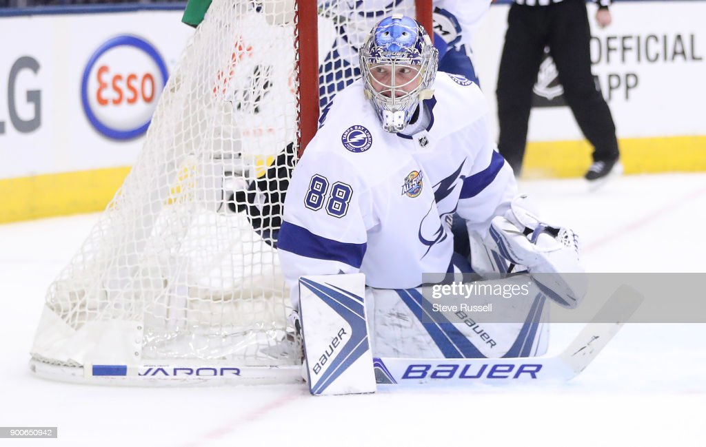 TORONTO, ON- JANUARY 2 - Tampa Bay Lightning goaltender Andrei Vasilevskiy (88) would record a shutout as the Toronto Maple Leafs play the Tampa Bay Lightning at the Air Canada Centre in Toronto. January 2, 2018.