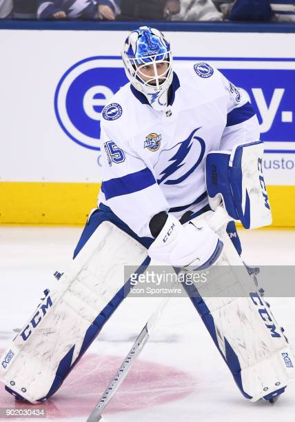 Tampa Bay Lightning goaltender Louis Domingue skates during the warm up before a game between the Tampa Bay Lightning and the Toronto Maple Leafs at...