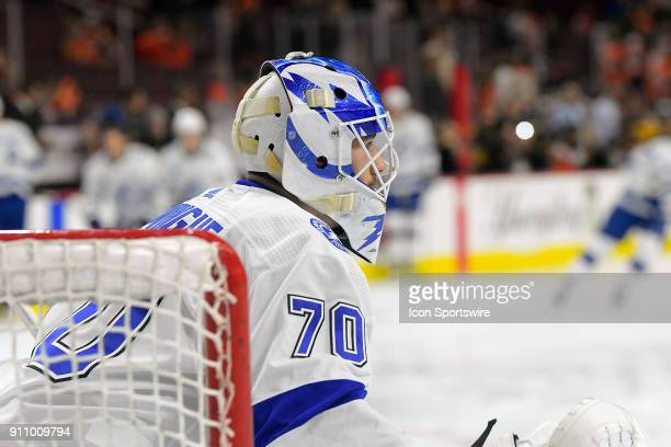 Tampa Bay Lightning goaltender Louis Domingue warms up before the NHL game between the Tampa Bay Lightning and the Philadelphia Flyers on January 25...
