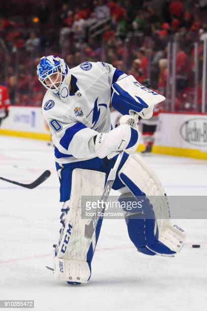 Tampa Bay Lightning goaltender Louis Domingue warms up prior to a game between the Chicago Blackhawks and the Tampa Bay Lightning on January 22 at...