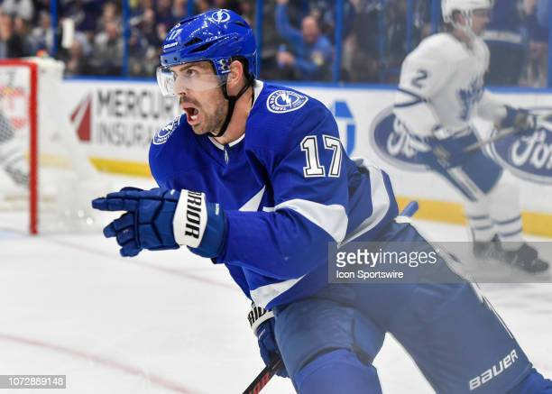 Tampa Bay Lightning left wing Alex Killorn celebrates his goal during the second period of an NHL game between the Toronto Maple Leafs and the Tampa...