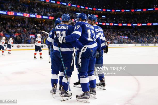 Tampa Bay Lightning left wing Alex Killorn celebrates with teammates Steven Stamkos Mikhail Sergachev Nikita Kucherov and Anton Stralman after...