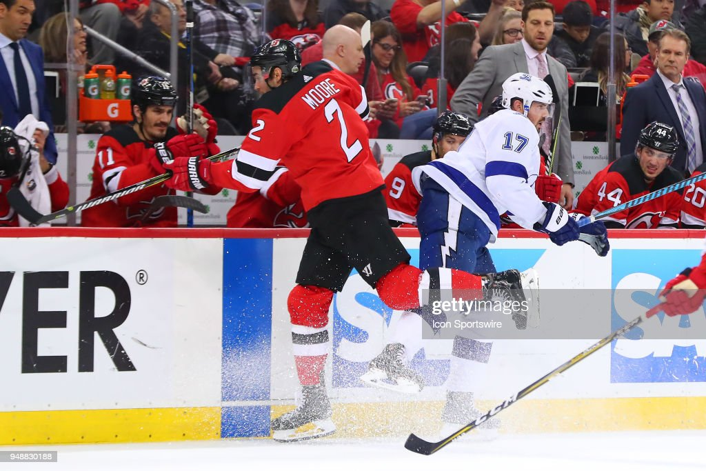 fb1540a6277 Tampa Bay Lightning left wing Alex Killorn (17) collides with New Jersey  Devils defenseman