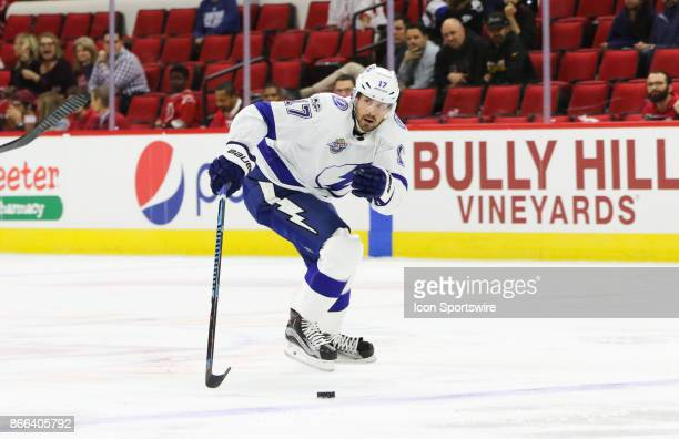 Tampa Bay Lightning Left Wing Alex Killorn during the 2nd period of the Carolina Hurricanes game versus the Tampa Bay Lightning on October 24 at PNC...