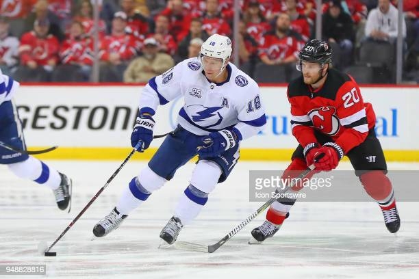 Tampa Bay Lightning left wing Ondrej Palat skates during the third period of the First Round Stanley Cup Playoff Game 4 between the New Jersey Devils...