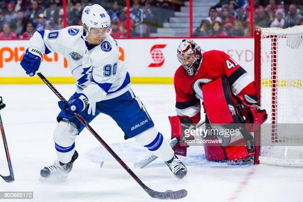 Tampa Bay Lightning Left Wing Vladislav Namestnikov controls the puck in front of Ottawa Senators Goalie Craig Anderson during first period National...