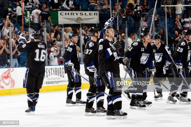 Tampa Bay Lightning players wave to fans after finishing the home season against the Atlanta Thrashers at St. Pete Times Forum on March 31, 2008 in...