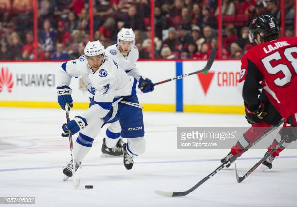 Tampa Bay Lightning Right Wing Mathieu Joseph stickhandles the puck during the first period of the NHL game between the Ottawa Senators and the Tampa...