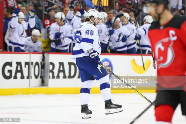 Tampa Bay Lightning right wing Nikita Kucherov celebrates after he scores an empty net goal during the third period of the First Round Stanley Cup...