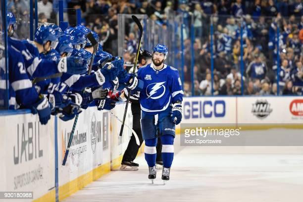 Tampa Bay Lightning right wing Nikita Kucherov celebrates his eventual gamewinning shootout goal with his bench during the shootout of an NHL game...