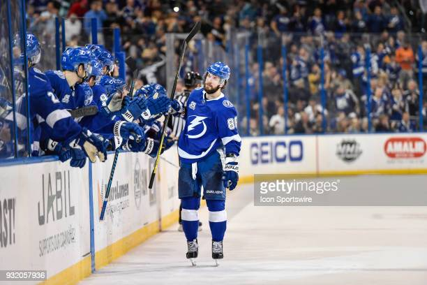 Tampa Bay Lightning right wing Nikita Kucherov celebrates his shootout goal with his teammates during the shootout of an NHL game between the...