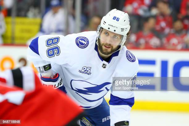 Tampa Bay Lightning right wing Nikita Kucherov during the second period of the First Round Stanley Cup Playoff Game 4 between the New Jersey Devils...