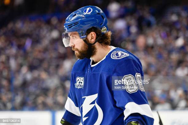 Tampa Bay Lightning right wing Nikita Kucherov during the third period of an NHL Stanley Cup Eastern Conference Playoffs between the New Jersey...