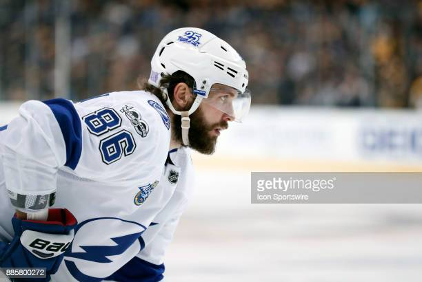 Tampa Bay Lightning right wing Nikita Kucherov eyes the face off during a game between the Boston Bruins and the Tampa Bay Lightning on November 29...