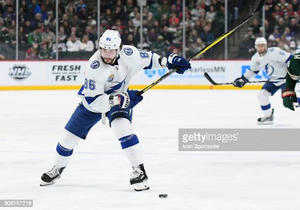 Tampa Bay Lightning Right Wing Nikita Kucherov fakes a shot during a NHL game between the Minnesota Wild and Tampa Bay Lightning on January 20 2018...