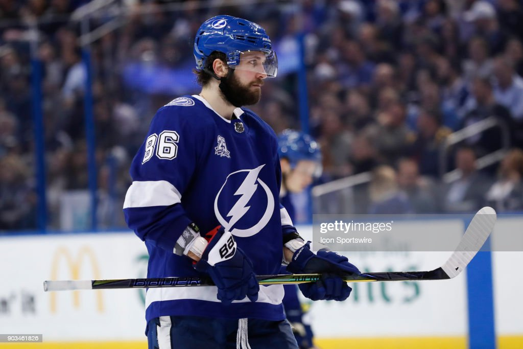 Tampa Bay Lightning right wing Nikita Kucherov (86) in the second period of the NHL game between the Carolina Hurricanes and Tampa Bay Lightning on January 09, 2018 at Amalie Arena in Tampa, FL.