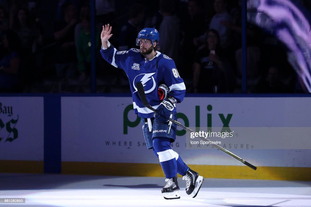 Tampa Bay Lightning right wing Nikita Kucherov (86) is named #2 Star after the NHL game between the Pittsburgh Penguins and Tampa Bay Lightning on October 12, 2017 at Amalie Arena in Tampa, FL.