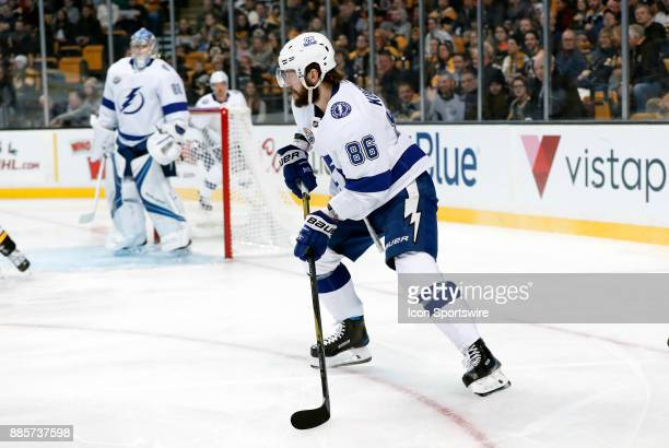 Tampa Bay Lightning right wing Nikita Kucherov looks to clear the zone during a game between the Boston Bruins and the Tampa Bay Lightning on...