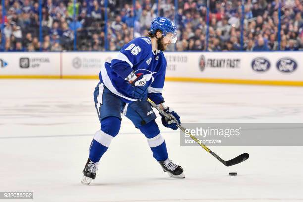 Tampa Bay Lightning right wing Nikita Kucherov looks to shoot during the overtime period of an NHL game between the Montreal Canadiens and the Tampa...