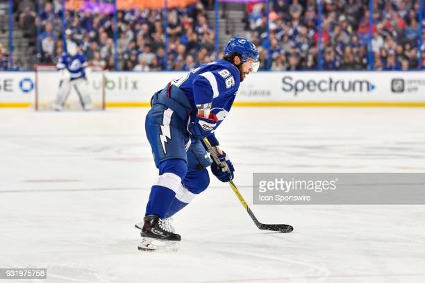 Tampa Bay Lightning right wing Nikita Kucherov prepares to shoot during the second period of an NHL game between the Montreal Canadiens and the Tampa...