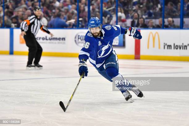 Tampa Bay Lightning right wing Nikita Kucherov reaches for a puck during the second period of an NHL game between the Montreal Canadiens and the...