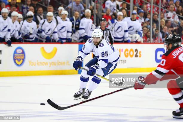 Tampa Bay Lightning right wing Nikita Kucherov scores an empty net goal during the third period of the First Round Stanley Cup Playoff Game 4 between...