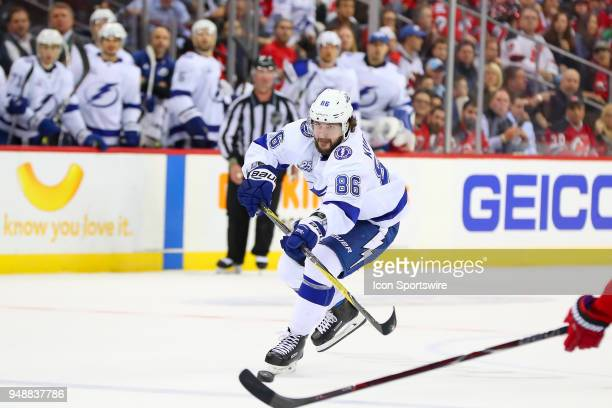 Tampa Bay Lightning right wing Nikita Kucherov shoots the puck into the empty net during the third period of the First Round Stanley Cup Playoff Game...