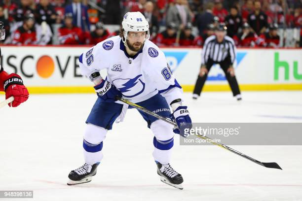 Tampa Bay Lightning right wing Nikita Kucherov skates during the third period of the First Round Stanley Cup Playoff Game 4 between the New Jersey...