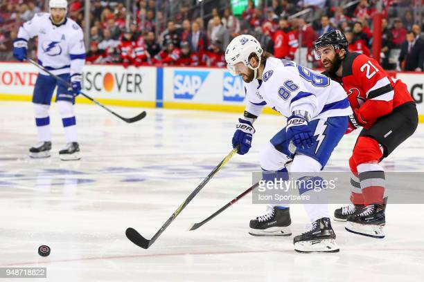 Tampa Bay Lightning right wing Nikita Kucherov skates during the second period of the First Round Stanley Cup Playoff Game 4 between the New Jersey...