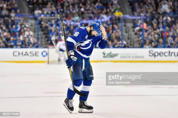 Tampa Bay Lightning right wing Nikita Kucherov steps out to take his shootout during the shootout of an NHL game between the Montreal Canadiens and...