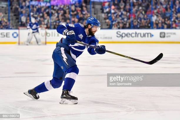 Tampa Bay Lightning right wing Nikita Kucherov takes a shot during the second period of an NHL game between the Montreal Canadiens and the Tampa Bay...