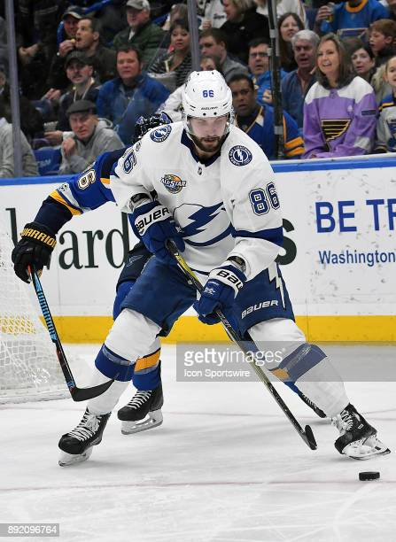 Tampa Bay Lightning rightwing Nikita Kucherov controls the puck during a NHL game between the Tampa Bay Lightning and the St Louis Blues on December...
