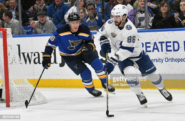 Tampa Bay Lightning rightwing Nikita Kucherov skates ahead of St Louis Blues center Paul Stastny during a NHL game between the Tampa Bay Lightning...