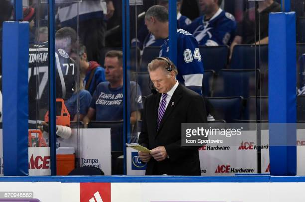 Tampa Bay Lightning TV analyst Brian Engblom prior to first period of an NHL game between the New York Rangers and the Tampa Bay Lightning on...