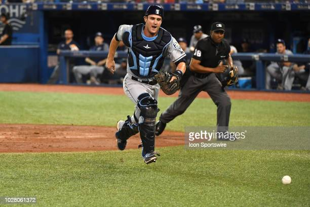 Tampa Bay Rays Catcher Nick Ciuffo chases a wild pitch during the regular season MLB game between the Tampa Bay Rays and Toronto Blue Jays on...
