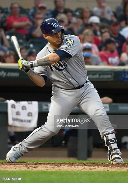 Tampa Bay Rays Catcher Wilson Ramos starts his swing during a MLB game between the Minnesota Twins and Tampa Bay Rays on July 13 2018 at Target Field...