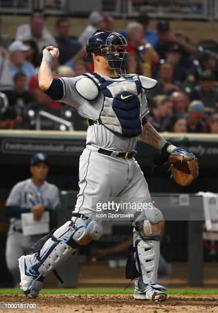 Tampa Bay Rays Catcher Wilson Ramos throws to 2nd during a MLB game between the Minnesota Twins and Tampa Bay Rays on July 13 2018 at Target Field in...