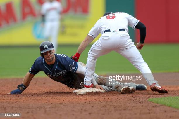 Tampa Bay Rays Center field Kevin Kiermaier steals second base ahead of the tag of Cleveland Indians infielder Mike Freeman during the ninth inning...