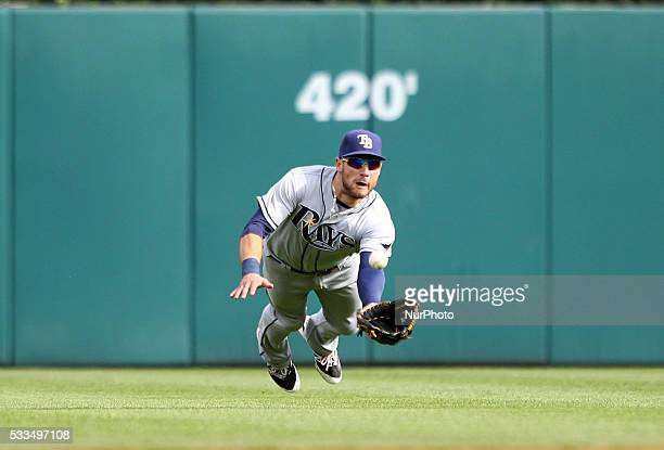 Tampa Bay Rays center fielder Kevin Kiermaier dives but could not play the single hit by Detroit Tigers catcher James McCann during the fifth inning...