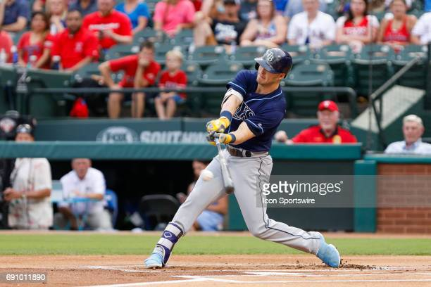 Tampa Bay Rays Designated hitter Corey Dickerson bats during the MLB game between the Tampa Bay Rays and Texas Rangers on May 31 2017 at Globe Life...