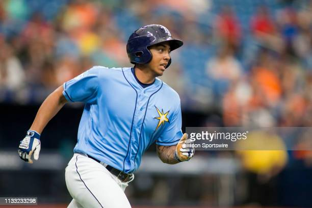 Tampa Bay Rays designated hitter Kaleo Johnson runs to first base in in the final Major League Baseball spring training game of the season between...