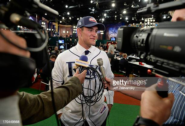Tampa Bay Rays draftee Nick Ciuffo appears at the 2013 MLB FirstYear Player Draft at the MLB Network on June 6 2013 in Secaucus New Jersey