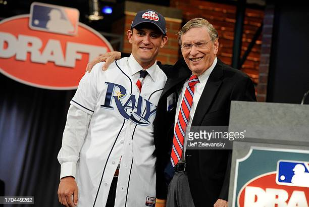 Tampa Bay Rays draftee Nick Ciuffo poses for a photograph with Major League Baseball Commissioner Bud Selig at the 2013 MLB FirstYear Player Draft at...
