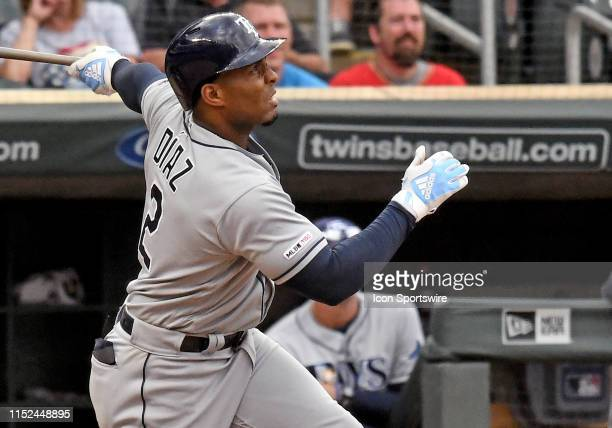 Tampa Bay Rays Infield Yandy Diaz hits a game-winning sacrifice fly in the top of the 18th off of Minnesota Twins Pitcher Ryne Harper scoring Tampa...