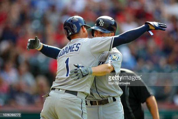 Tampa Bay Rays infielder Brandon Lowe is congratulated by Tampa Bay Rays infielder Willy Adames after hitting a home run during the second inning of...