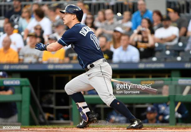 Tampa Bay Rays left fielder Corey Dickerson singles to center field in the first inning during the game against the Pittsburgh Pirates at PNC Park on...