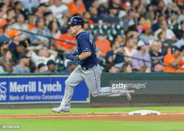 Tampa Bay Rays left fielder Corey Dickerson sprints to third base and scored in the seventh inning of the MLB game between the Tampa Bay Rays and...
