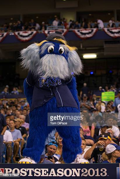 Tampa Bay Rays mascot Raymond entertains the crowd in between innings during Game 3 of the American League Division Series the Boston Red Sox at...
