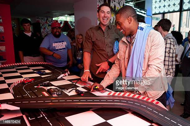 Tampa Bay Rays Matt Joyce and New York Yankees Curtis Granderson race on the Fan Cave 500 track during the MLB AllStar LeadOff Event June 5 2012 at...